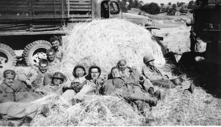 Men of the 45th resting outside of Rome